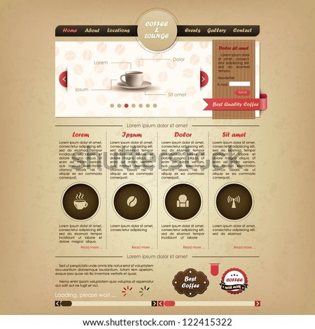 Coffee and lounge website design template