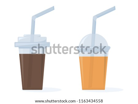 Coffee and orange juice. Set of plastic cups with straws. Vector illustration