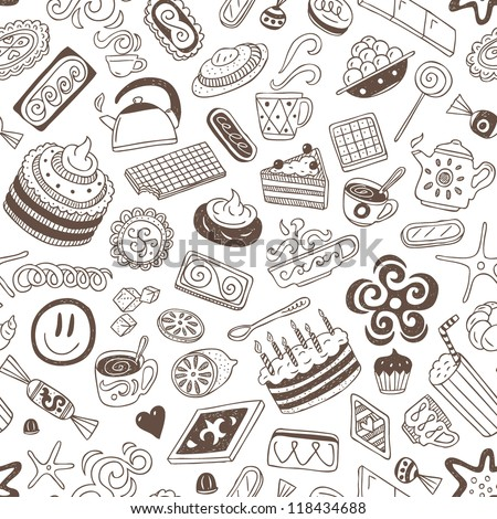 coffee and sweets - seamless background