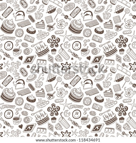 coffee and sweets - seamless background - stock vector