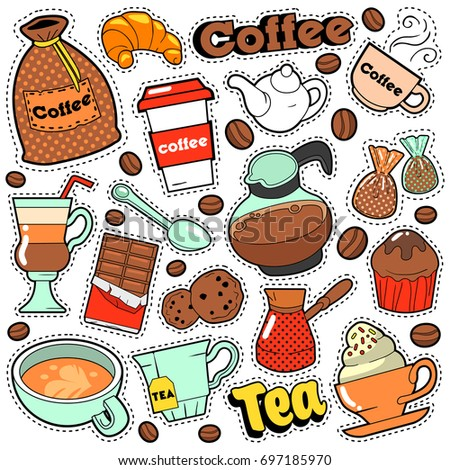 Coffee and Tea Badges, Patches, Stickers for Prints and Fashion Textile with Beans. Vector Doodle in Comic Style