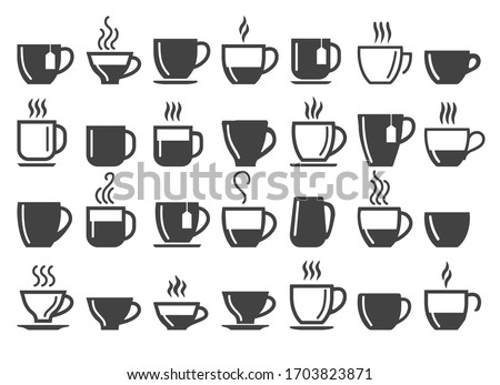 Coffee and tea beverage cups silhouettes. Cupping hot beverages icons, hot chocolate pots vector signs for coffee machine