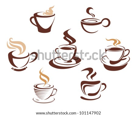 Coffee and tea cups symbols for fast food or restaurant design. Jpeg version also available in gallery