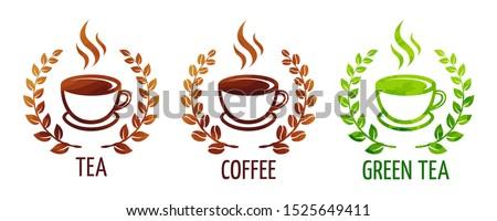 Coffee and tea cups vector symbols. Logo coffee cup with coffee wreath. Logo green tea cup with wreath leaves. Logo black tea cup with wreath leaves. eps 10