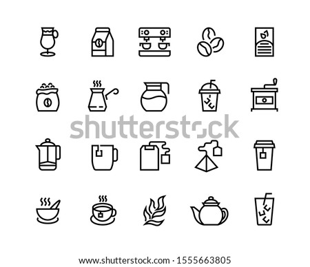 Coffee and tea line icons. Latte espresso and cappuccino coffee cups, symbols mugs with steam and take away cups with tea. Vector illustrations icon how to coffee make process set