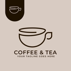 Coffee and Tea Logo Concept Suatable for coffee and tea shop, cafes, food and beverage businesses.