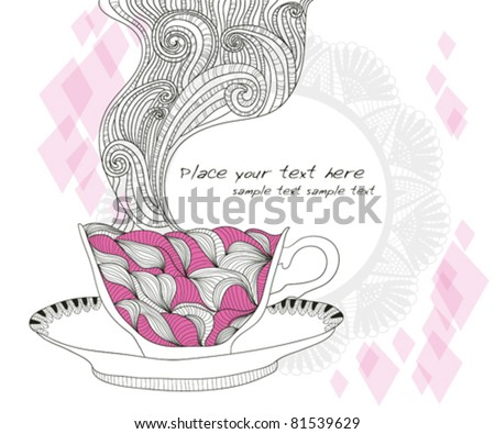 coffee and tea mug with abstract doodle pattern. Cup background. Hot drink in the beautiful mug.