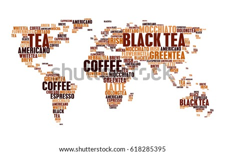 Coffee and tea or hot drinks cloud tags words in world map. Word cloudtags concept of espresso or americano, hot chocolate, cappuccino or irish coffee, breve latte moka and mocha frappe or mocchiato