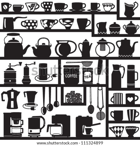 Coffee and tea related silhouettes
