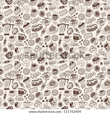 Coffee and tea - seamless background