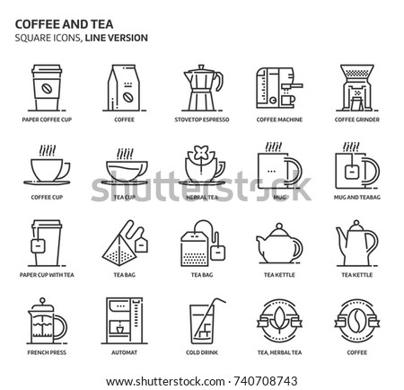 coffee and tea  square icon set