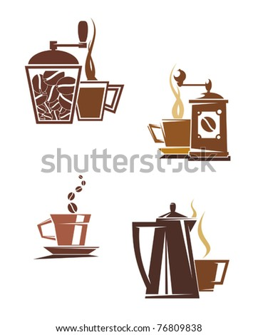 Coffee and tea symbols and icons for food design or logo template. Jpeg version also available in gallery