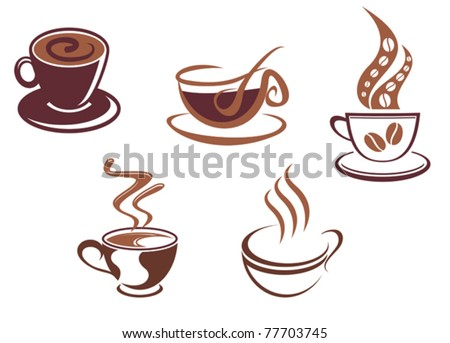 Coffee and tea symbols and icons for food design, such a logo. Jpeg version also available in gallery