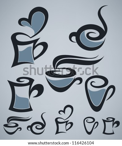 coffee and tea, vector cups collection on grey background