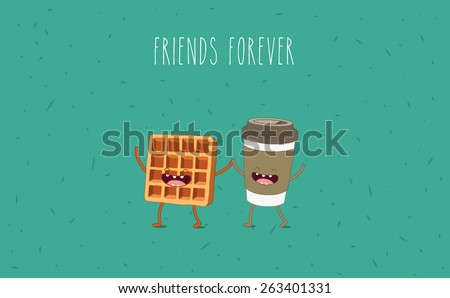 coffee and  waffle vector