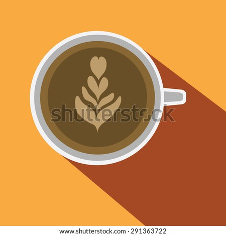 Coffee art with tulip pattern, flat illustration with long shadow