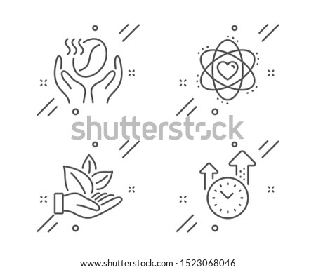 Coffee, Atom and Organic product line icons set. Time management sign. Roasted bean, Electron, Leaf. Office clock. Business set. Line coffee outline icon. Vector