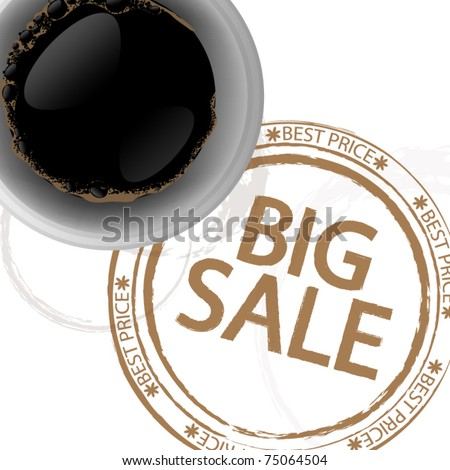 Coffee background with stamp - big sale
