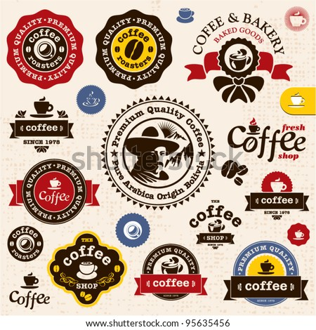 Coffee badges and labels. Bakery and Coffee shop vector sign set. Premium quality coffee sign. Coffee Man emblem.