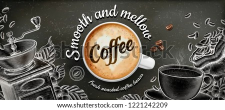 Coffee banner ads with 3d illustratin latte and woodcut style decorations on chalkboard background