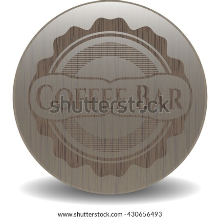 Coffee Bar badge with wood background