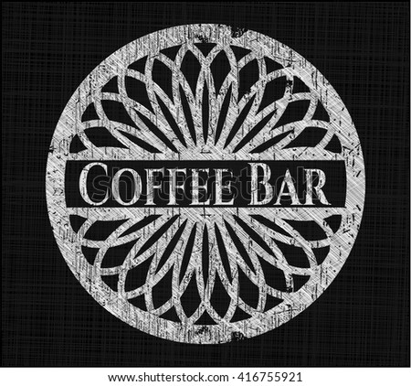 Coffee Bar chalkboard emblem on black board