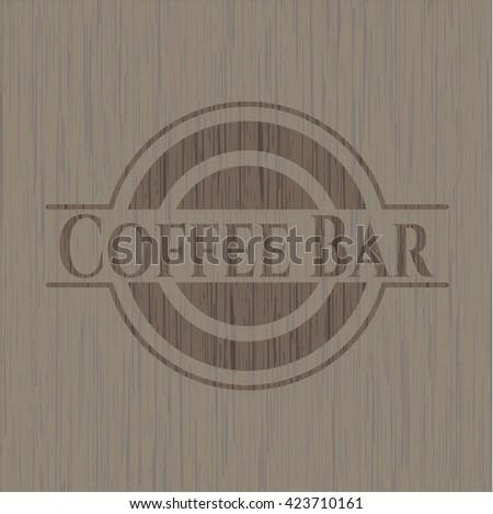 Coffee Bar wood icon or emblem