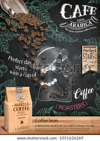 Coffee bean ads, paper bag package in 3d illustration on engraving style painted chalkboard