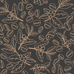 Coffee beans and branches on dark background. Seamless pattern for textile prints, gift wrap or wallpaper.