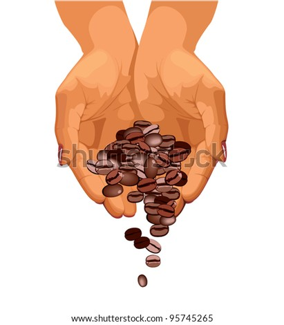Coffee beans are falling down from two hands - stock vector