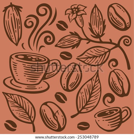 coffee beans  cups and leaves