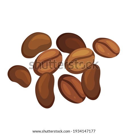 Coffee beans pile cartoon illustration. Robusta, arabica. Cappuccino, mocha, espresso, latte, chocolate ingredient. Aromatic beverage with caffeine. Vector isolated on white background.
