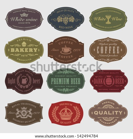 coffee, beer, wine labels