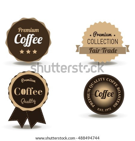 Coffee beverage badge and label vector flat logo vintage cafe symbol badging banner art