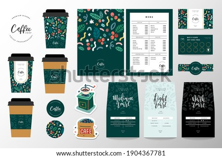 Coffee branding identity set for coffee shop or cafe. Collection of lettering logo, menu template, paper cup design and loyalty card. Pouch bag packaging design, coasters. Business merchandise set.