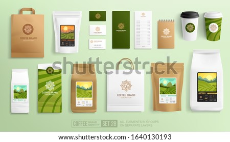 Coffee branding set with package design. Coffee pictogram logo template. World series coffee landscapes on stickers. Realistic mockup set for advertising. Vector illustration