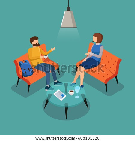 Coffee break. Couple conversation. Woman and man talking in the cafe. Vector illustration  in 3d isometric design.