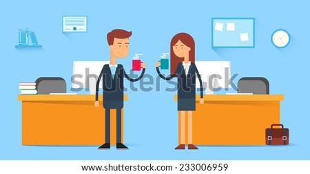 coffee break  male and female