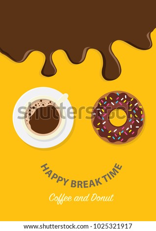 Coffee break time with donuts, Coffee cup and chocolate donut top view vector illustration on yellow and blue background.