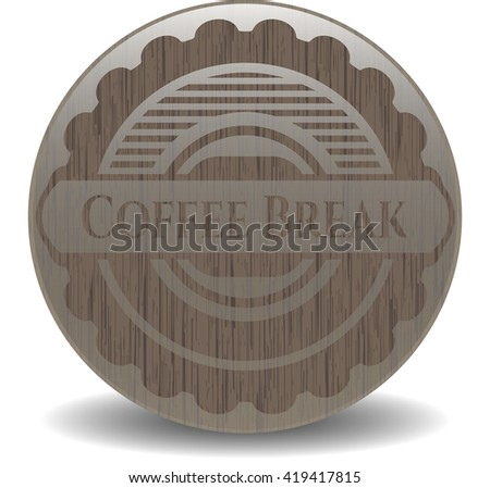 Coffee Break vintage wood emblem