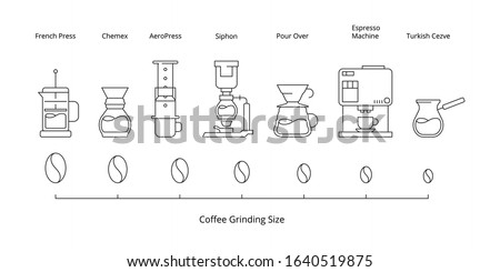 Coffee brewing. Hot drinks pictogram pouring method for cold coffee vector icon infographic Stockfoto ©