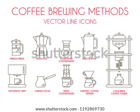Coffee brewing methods, vector thin line icon or symbol set: cold brew coffee tower - kyoto dripper, french press, moka pot, pour over coffeemaker, percolator, automatic drip, turkish cezve.