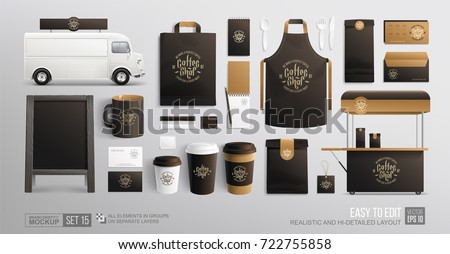 Coffee, Cafe, Food cart - Branding corporate identity Mockup. Realistic MockUp set of uniform, food cart, food delivery truck, street menu ChalkBoard, envelope, paper pack. Coffee, Fast food package