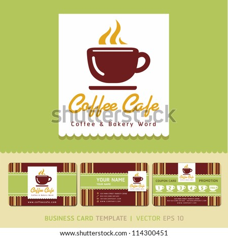 Coffee cafe icon logo and business cards design. Vector illustration.