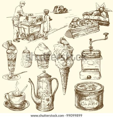 coffee, cake, ice cream - hand drawn set