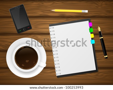 Coffee cap, phone and notebook on wooden background. Vector illustration. - stock vector