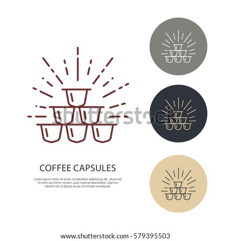 Coffee capsules vector line icon. Barista equipment linear logo. Outline symbol for cafe, bar, shop.
