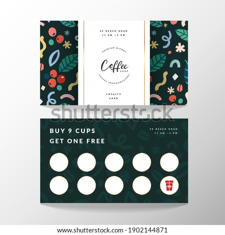 Coffee card, loyalty card for coffee shop with place for collecting stamps, vector template with logo and doodle illustrations, modern simple design, good for cafe. Photo stock ©