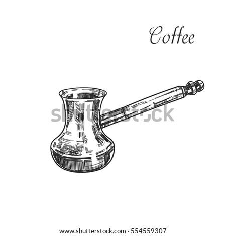 Coffee cezve.Coffee mocha. Hand drawn vector.