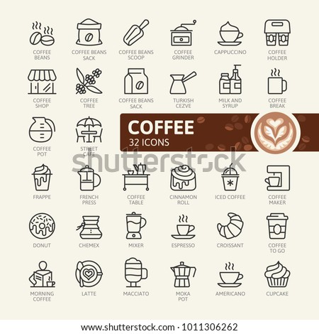 Coffee, coffee house, coffee shop elements - minimal thin line web icon set. Outline icons collection. Simple vector illustration.